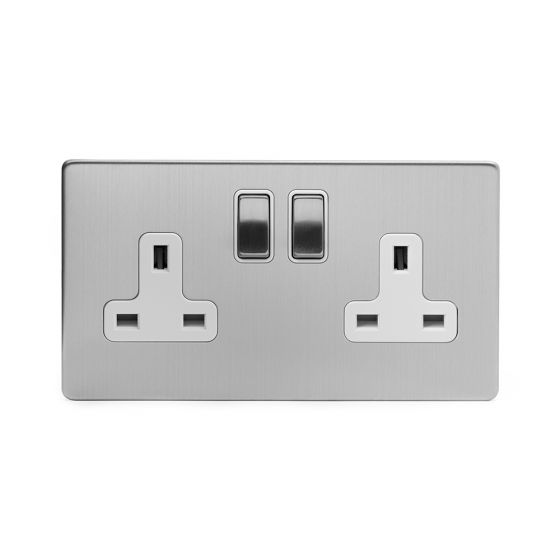 Brushed Chrome and white socket