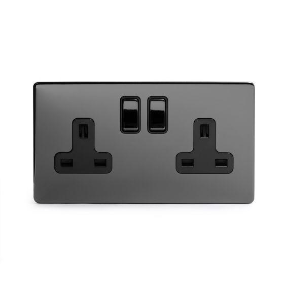 double black nickel screwless socket