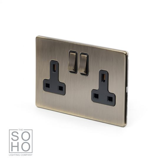 Soho Lighting Antique Brass 2 Gang DP Socket Black Ins 13A Screwless