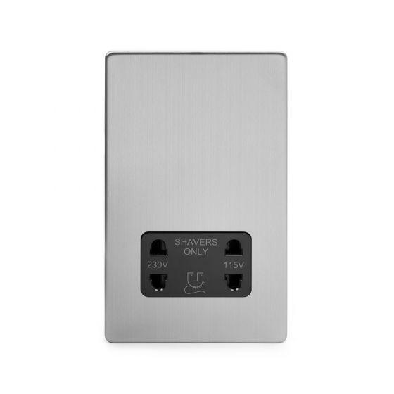 Soho Lighting Brushed Chrome Shaver Socket Dual Voltage 115/230v Blk Ins Screwless