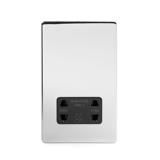 Soho Lighting Polished Chrome Shaver Socket Dual Voltage 115/230v Blk Ins Screwless