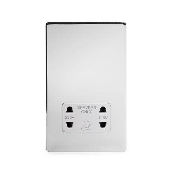 Soho Lighting Polished Chrome Shaver Socket Dual Voltage 115/230v Wht Ins Screwless