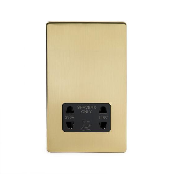 Soho Lighting Brushed Brass Shaver Socket Dual Voltage 115/230v Blk Ins Screwless
