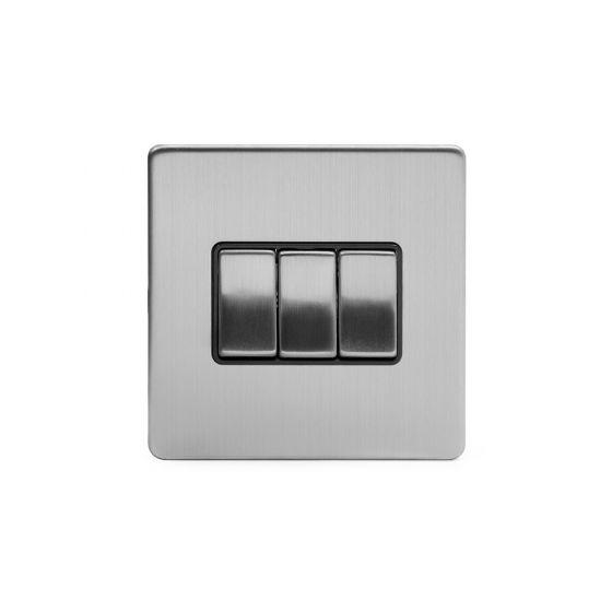 Soho Lighting Brushed Chrome 3 Gang 2 Way 10A Light Switch Blk Ins Screwless