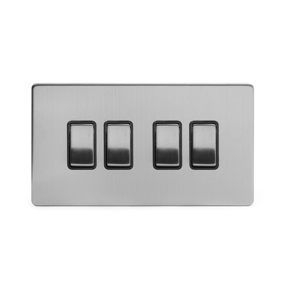 Soho Lighting Brushed Chrome 4 Gang 2 Way 10A Light Switch Blk Ins Screwless
