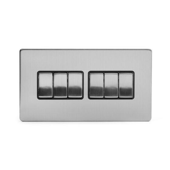 Soho Lighting Brushed Chrome 6 Gang 2 Way 10A Light Switch Blk Ins Screwless