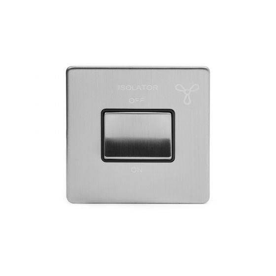Soho Lighting Brushed Chrome Fan Isolator Switch Black Ins Screwless