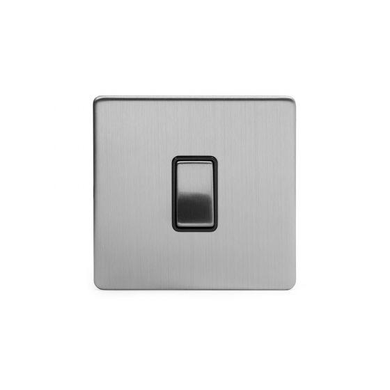 Soho Lighting Brushed Chrome 1 Gang Intermediate Switch Black Ins 10A Screwless