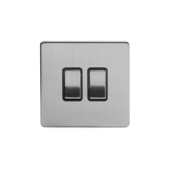 Soho Lighting Brushed Chrome 2 Gang Intermediate Switch Black Ins 10A Screwless