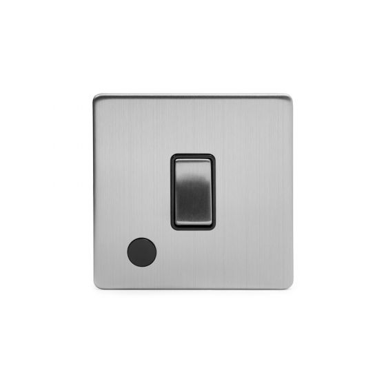 Soho Lighting Brushed Chrome 1 Gang 20A DP Switch Flex Outlet Blk Ins Screwless