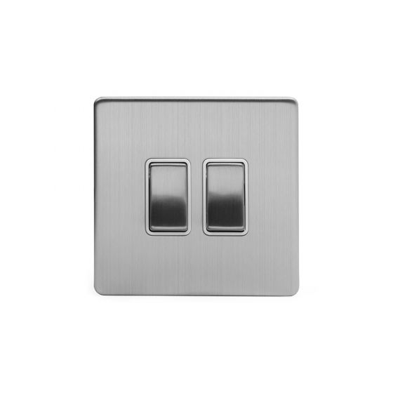 Soho Lighting Brushed Chrome 2 Gang 2 Way 10A Light Switch Wht Ins Screwless