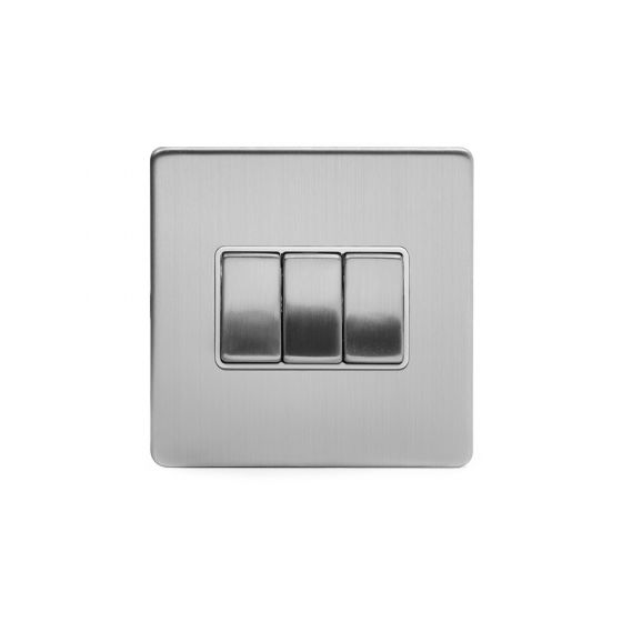 Soho Lighting Brushed Chrome 3 Gang 2 Way 10A Light Switch Wht Ins Screwless