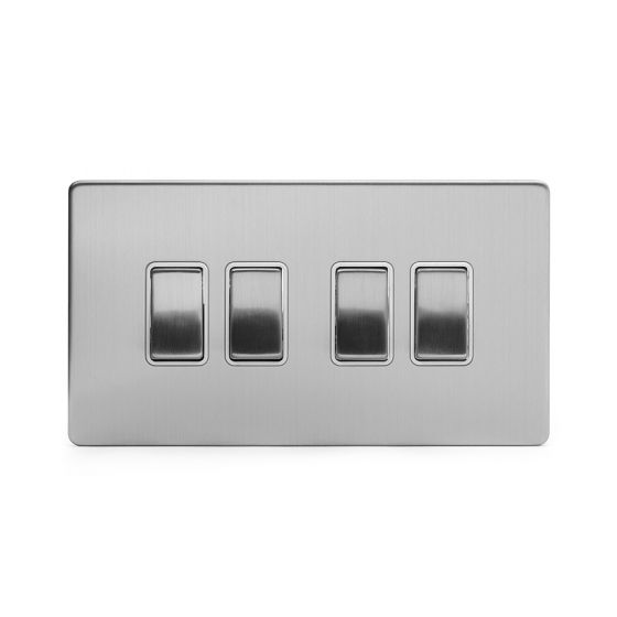 Soho Lighting Brushed Chrome 4 Gang 2 Way 10A Light Switch Wht Ins Screwless