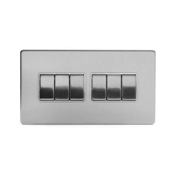 Soho Lighting Brushed Chrome 6 Gang 2 Way 10A Light Switch Wht Ins Screwless