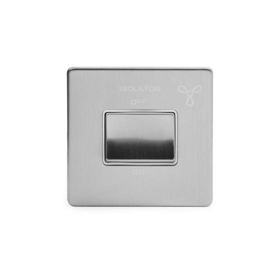 Soho Lighting Brushed Chrome Fan Isolator Switch White Ins Screwless