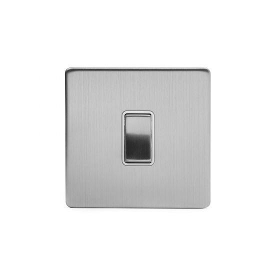 Soho Lighting Brushed Chrome 1 Gang Intermediate Switch White Ins 10A Screwless