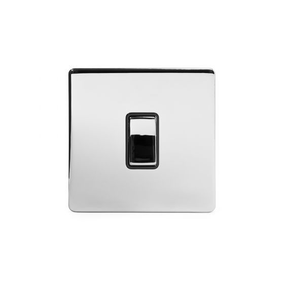 Soho Lighting Polished Chrome 1 Gang 2 Way 10A Light Switch Blk Ins Screwless