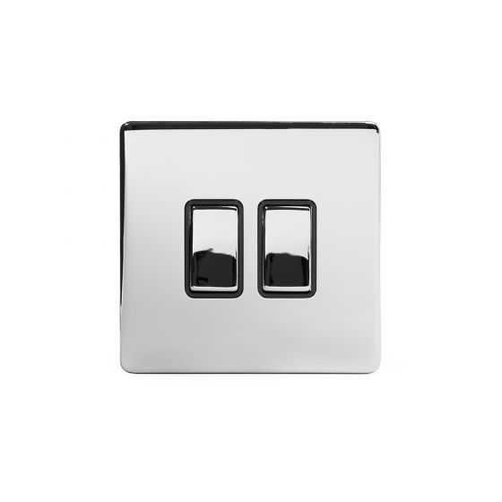 Soho Lighting Polished Chrome 2 Gang 2 Way 10A Light Switch Blk Ins Screwless