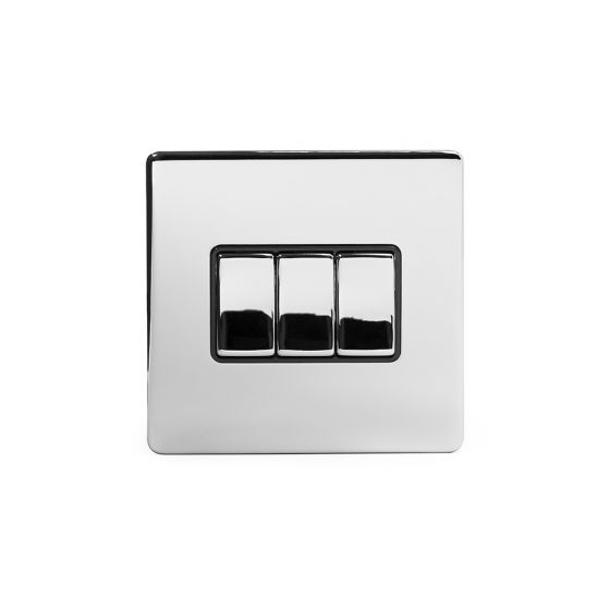 Soho Lighting Polished Chrome 3 Gang 2 Way 10A Light Switch Blk Ins Screwless