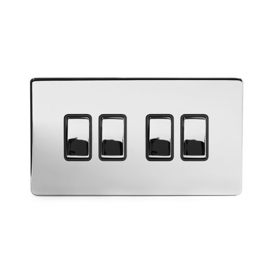 Soho Lighting Polished Chrome 4 Gang 2 Way 10A Light Switch Blk Ins Screwless