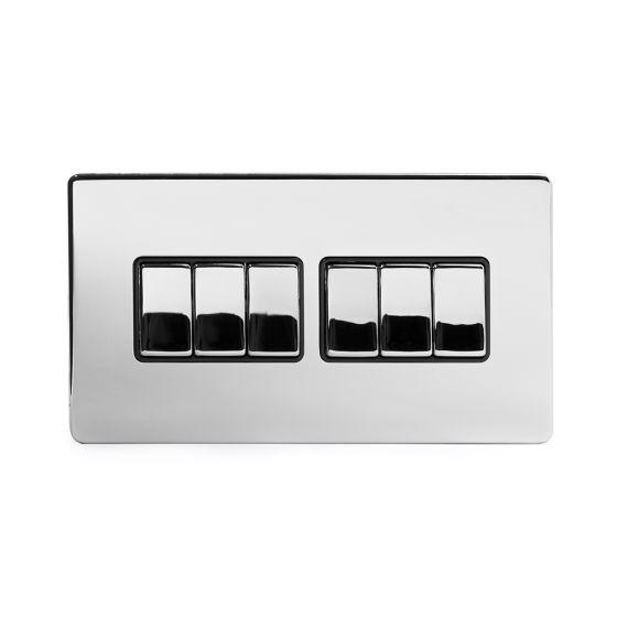 Soho Lighting Polished Chrome 6 Gang 2 Way 10A Light Switch Blk Ins Screwless