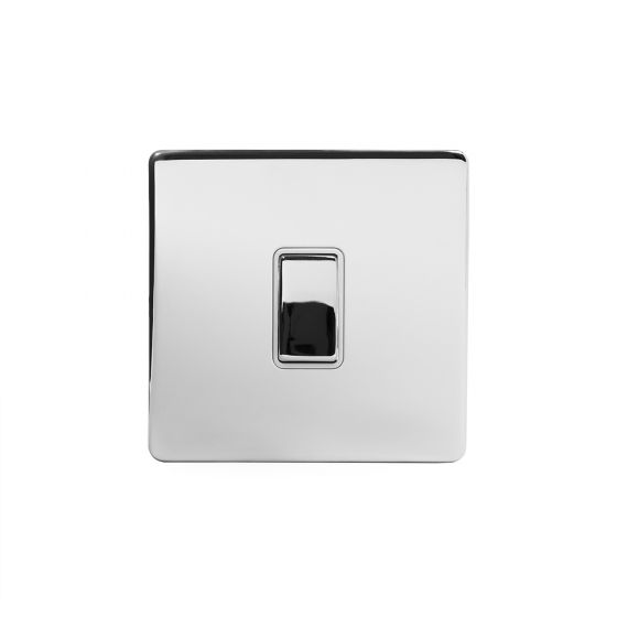 Soho Lighting Polished Chrome 1 Gang 2 Way 10A Light Switch Wht Ins Screwless