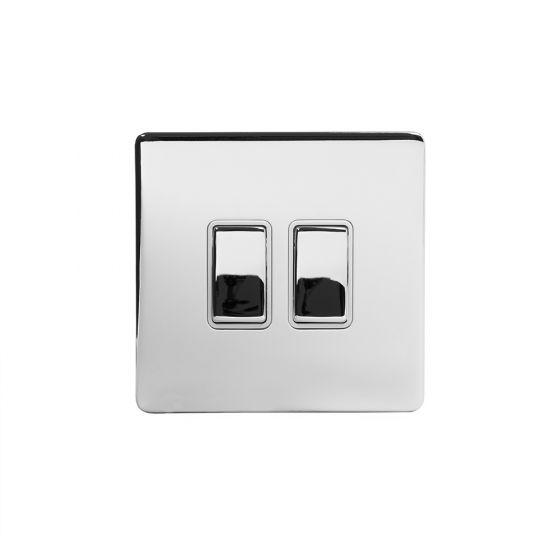 Soho Lighting Polished Chrome 2 Gang 2 Way 10A Light Switch Wht Ins Screwless