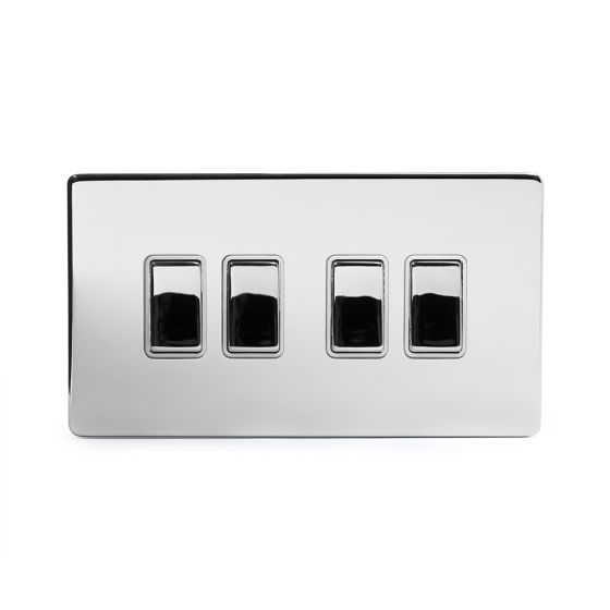 Soho Lighting Polished Chrome 4 Gang 2 Way 10A Light Switch Wht Ins Screwless