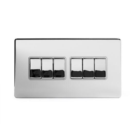 Soho Lighting Polished Chrome 6 Gang 2 Way 10A Light Switch Wht Ins Screwless