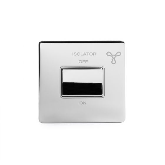 Soho Lighting Polished Chrome Fan Isolator Switch White Ins Screwless