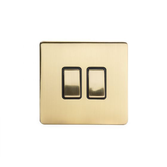 Soho Lighting Brushed Brass 2 Gang 2 Way 10A Light Switch Blk Ins Screwless