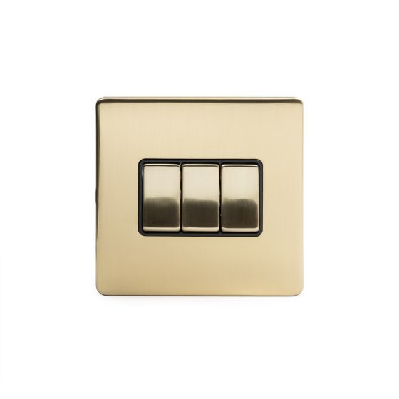 Soho Lighting Brushed Brass 3 Gang 2 Way 10A Light Switch Blk Ins Screwless