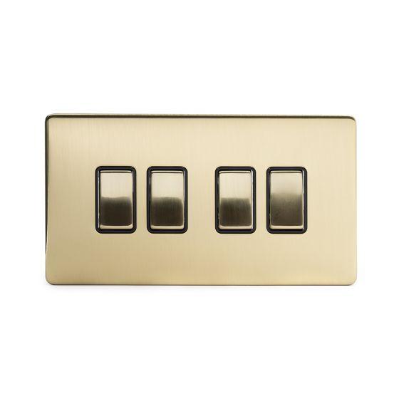 Soho Lighting Brushed Brass 4 Gang 2 Way 10A Light Switch Blk Ins Screwless
