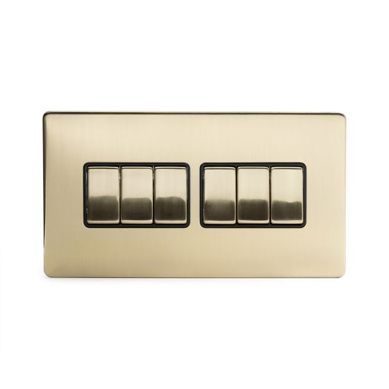 Soho Lighting Brushed Brass 6 Gang 2 Way 10A Light Switch Blk Ins Screwless