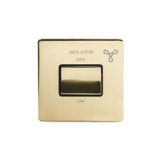 Soho Lighting Brushed Brass Fan Isolator Switch Black Ins Screwless