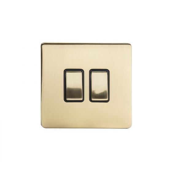 Soho Lighting Brushed Brass 2 Gang Intermediate Switch Black Ins 10A Screwless