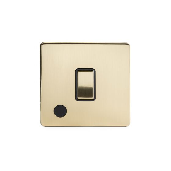 Soho Lighting Brushed Brass 1 Gang 20A Double Pole Switch Flex Outlet Blk Ins Screwless