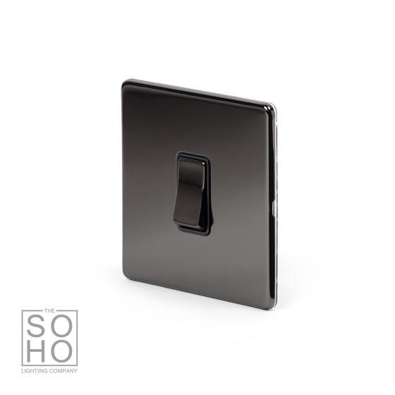 Soho Lighting Black Nickel 1 Gang 2 Way 10A Light Switch Blk Ins Screwless