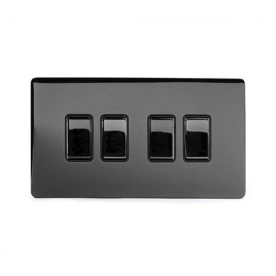 Soho Lighting Black Nickel 4 Gang 2 Way 10A Light Switch Blk Ins Screwless