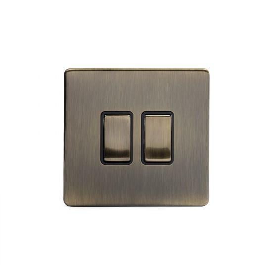 Soho Lighting Antique Brass 2 Gang 2 Way 10A Light Switch Blk Ins Screwless