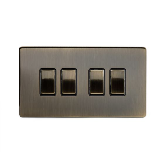 Soho Lighting Antique Brass 4 Gang 2 Way 10A Light Switch Blk Ins Screwless