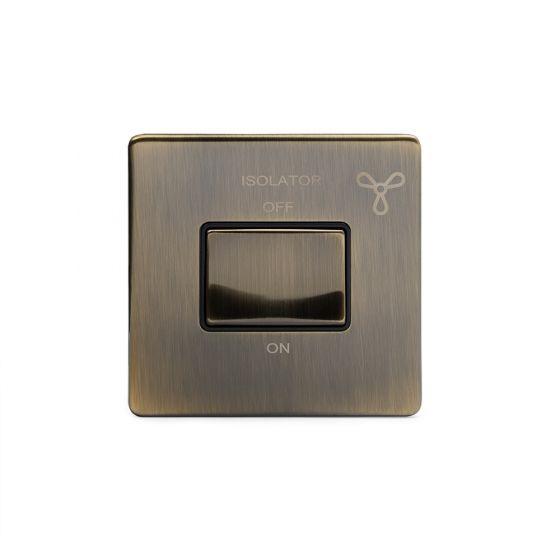 Soho Lighting Antique Brass Fan Isolator Switch Black Ins Screwless