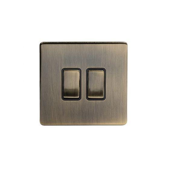 Soho Lighting Antique Brass 2 Gang Intermediate Switch Black Ins 10A Screwless