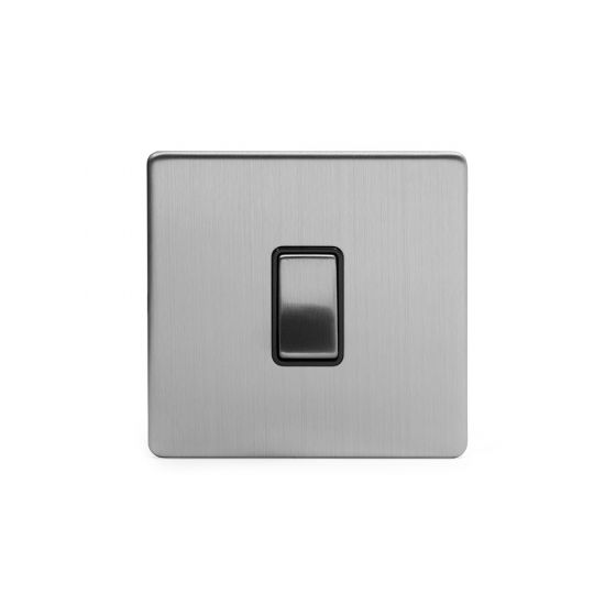 Soho Lighting Brushed Chrome 10A 1 Gang 2 Way Switch with Black Insert Screwless