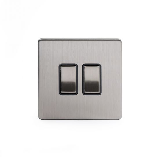 Brushed Chrome 10A 2 Gang 2 Way Switch with Black Insert Screwless