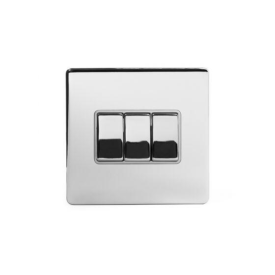 polished chrome 3 gang switch