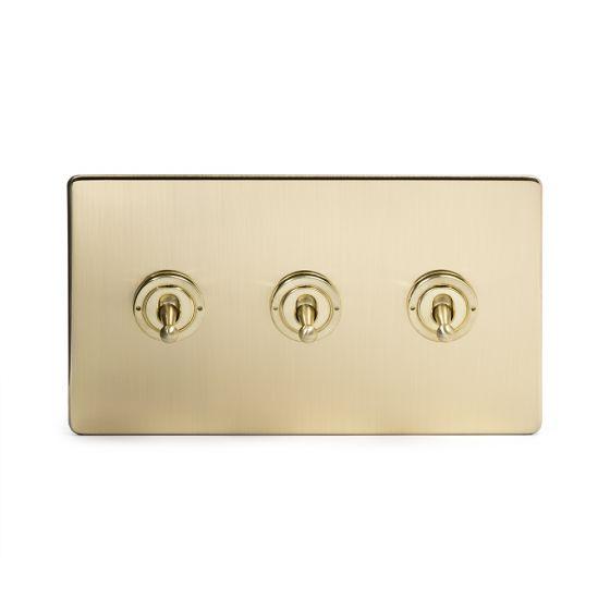 Soho Lighting Brushed Brass 3 Gang 2 Way Toggle Switch Screwless