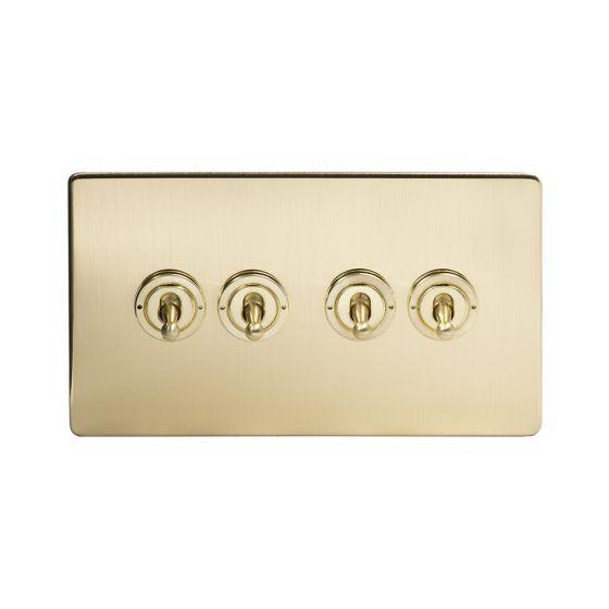 Soho Lighting Brushed Brass 4 Gang 2 Way Toggle Switch Screwless