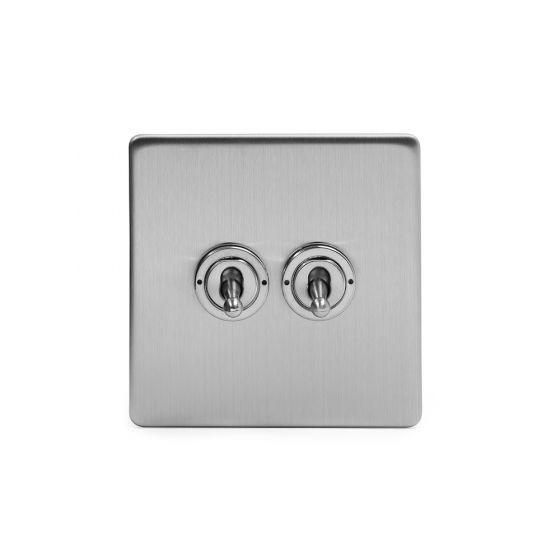Soho Lighting Brushed Chrome 2 Gang Intermediate Toggle Switch Screwless