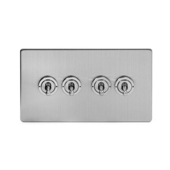Chrome 4 gang intermediate toggle switch